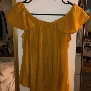 Mustard Yellow Flowy Off-the-Shoulder Top